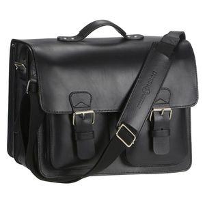 Ruitertassen Lehrertasche 42cm schwarz XXL Büchertasche Schultasche Aktentasche 3 Fächer 2 symetrische Vortaschen Tragegriff Schultergurt mit Polster 2358T-11