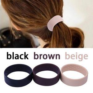 3 Stück Silikon Faltbar Haar Ring, (schwarz+beige+braun)