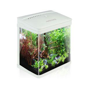 Nobleza - Nano-Fischtank-Aquarium mit LED-Leuchten & Filtersystem, tropischeAquarien, 7 Liter, Weiß