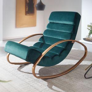 WOHNLING Relaxliege Samt Grün / Gold 110 kg Belastbar Relaxsessel 61x81x111 cm | Design Schaukelstuhl Innenbereich | Schwingstuhl Lounge Liege Modern