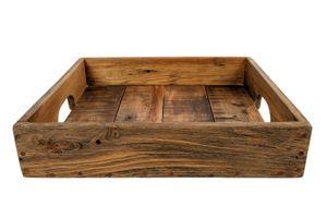 Tablett quadratisch mit Griffen - 50x50x8 cm - Holz natur