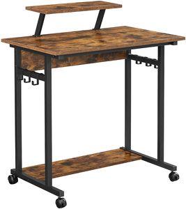 VASAGLE Schreibtisch mit Rollen, 80 x 50 x 90 cm, 6 Haken, mit Monitoraufsatz, mobiler Computertisch, Industrie-Design, vintagebraun-schwarz LWD085B01