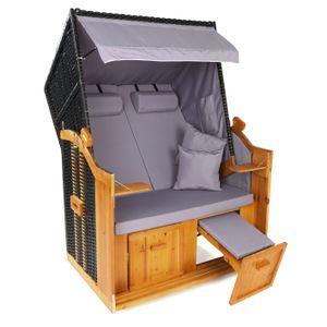 Hoberg 2-Sitzer-Strandkorb (Ostsee) - ohne Rollen - grau/braun