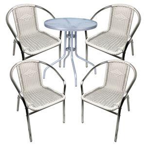 Bistro Sitzgarnitur Bistrogarnitur 5-teilig Silber/Weiß