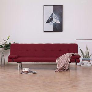Schlafsofa mit zwei Kissen Weinrot Polyester Wohnlandschaft-Sofa Relaxsofa für Wohnzimmer Schlafzimmer Esszimmer