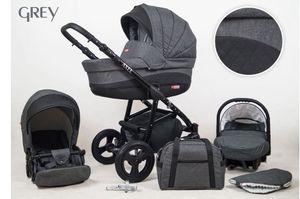 Kinderwagen Axel, 3 in 1 - Set Wanne Buggy Babyschale Autositz Grey