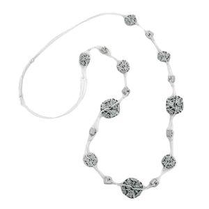 Kette Kunststoffperlen Blumenringe schwarz-weiß Kordel weiß 100cm