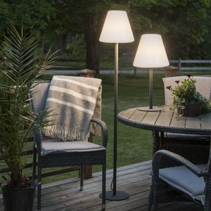 Star Trading Garten Stehleuchte Gardenlight aus Metall in Grau und Weiß E27