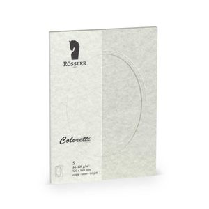 Rössler Papier - - Coloretti-5er Pack PP-Karte B6 oval, wolkengrau, parchement - Liefermenge: 10 Stück