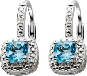 Blautopas Ohrringe Silber 925 weiße Diamant Blaue Edelsteine