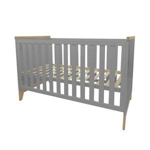 Puckdaddy Babybett Ida 140x70cm in Grau höhenverstellbares Gitterbett mit herausnehmbaren Sprossen