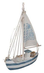 Maritim Deko Standmodell Segelschiff Holzschiff Fischerboot 28x21 cm Beleuchtung