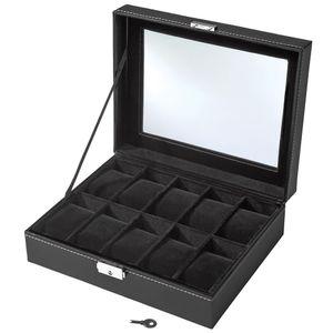 tectake Uhrenbox mit 10 Fächern inkl. Schlüssel - schwarz