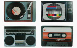Tischset Platzsets Platzmatten Kunststoff abwaschbar Retro analoge Hifi TV Designs 45 cm x 29 cm 4 Stück