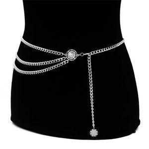 Vintage Frauen Taille Metall Taille Kette Gürtel Breite Goldmünzen Quaste Band Größe:,Farbe:Silber