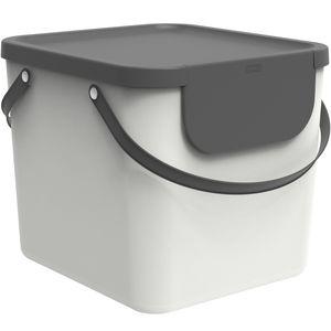 Rotho Albula Mülltrennungssystem 40l für die Küche, Kunststoff (PP) BPA-frei, weiss/anthrazit, 40l (39,8 x 35,8 x 33,9 cm)