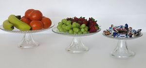 3er Set Glas Teller mit Fuß Etagere Servierplatte Obstschale Tortenplatte