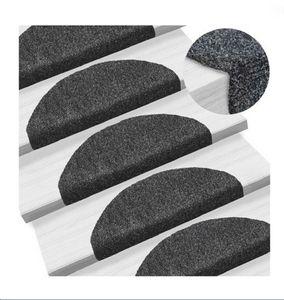15-tlg Treppenmatten  Selbstkleb Treppenmatten Stufenmatte 65x21x4cm Nadelvlies Halbrund schwarz