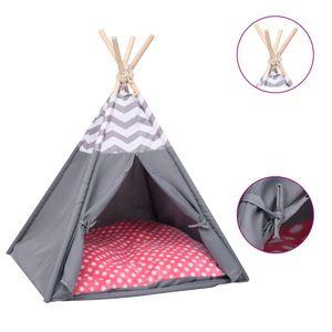 vidaXL Katzen-Tipi-Zelt mit Tasche Pfirsichhaut Grau 60x60x70 cm