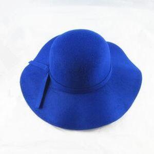 Vintage Cap Kinder Fedora Wolle Knautschbar Wide Brim Hat Floppy Sun Beach Cap Filz -(Blau,)