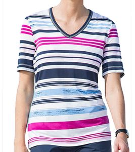 CANYON V-Neck Shirt modisches Damen Ringel T-Shirt Bunt, Größe:38
