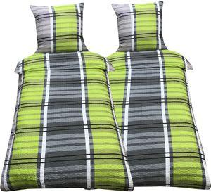 Bettwäsche 135x200 cm Seersucker grün grau kariert mit Reißverschluss, 4-tlg