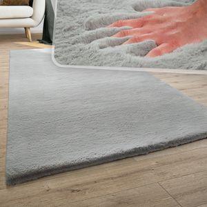 Teppich Wohnzimmer Kunstfell Plüsch Hochflor Shaggy Super Soft Waschbar In Grau, Grösse:80x150 cm