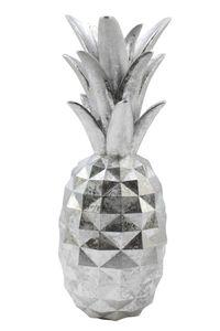 Deko Ananas 29 cm stylisches silber Design Dekofigur Zierfigur Figur Früchte