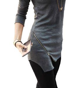 Vanessa Langarmshirt Damen Shirt Tunika Longshirt Mini Kleid Damenkleid mit Reißverschluss Graphit XL