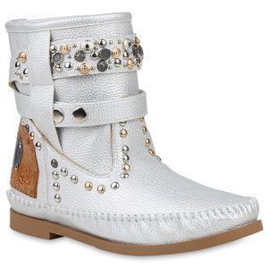 Mytrendshoe Damen Stiefeletten Mokassin Stiefel Nieten Bequeme Schlupfstiefel 833893, Farbe: Silber, Größe: 38