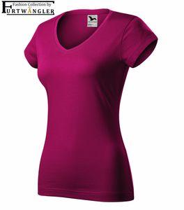 T-Shirt fuchsia rot 2XL Damenshirt V-Ausschnitt Furtwängler Fit V-Neck 180 g/m² Baumwolle