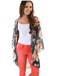 Damen Ärmel Blumendruck Kimono Sheer Chiffon Loose Cardigan Green M