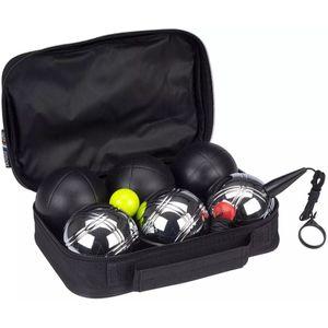 Get & Go Spiel Boule-Set Luxe 6 Kugeln Schwarz und Silber