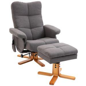 HOMCOM Massagesessel mit Fußhocker Relaxsessel 145°-Neigung Kunstleder Dunkelgrau 80 x 86 x 90 cm