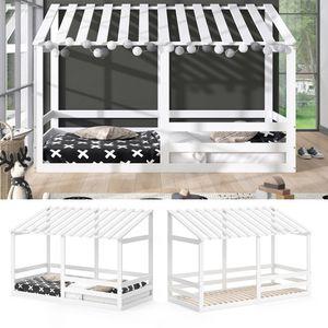 VITALISPA Kinderbett Hausbett SILVIA 90x200cm Kinder Bett Holz Haus Weiß