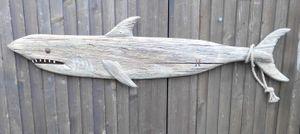 Wandobjekt Hai Fisch maritime Wanddekoration Holz  Natur 89 x 22 cm
