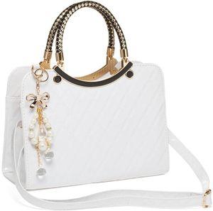 Damen Handtasche Weiß Modern Fashion Schultertasche Geldbörse Kunstleder Weiß
