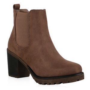 Mytrendshoe Damen Stiefeletten Chelsea Boots Blockabsatz 76870, Farbe: Schlamm, Größe: 41