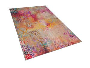 Teppich Bunt 140 x 200 cm aus Polyester Kurzflor Abstrakt Rechteckig Bedruckt Modern