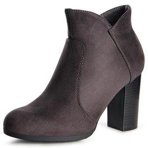 topschuhe24 1510 Damen Velours Stiefeletten Ankle Boots Schleife Fransen, Farbe:Grau Velours, Größe:39 EU