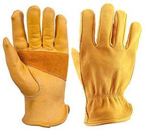 Gartenhandschuhe Herren Damen Dornensichere Ziegenleder Handschuhe, atmungsaktive Rosenhandschuhe Leder Arbeitshandschuhe Für Gärtner Und Landwirt, Wasserdicht, Robust und Flexibel (XL)