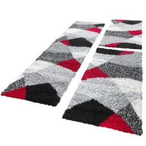 Bettumrandung Läufer Hochflor Shaggy Teppich Weich Rot Grau Läuferset 3 Tlg, Grösse:2mal 70x140 1mal 70x250 cm