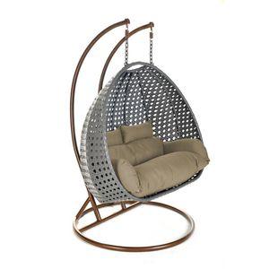 Hängesessel Set geeignet für 2 Personen, 4-tlg., mit Arm, Fuß, Korb, Kissen, Kette und Karabinerhaken, gefederte Aufhängung,grau
