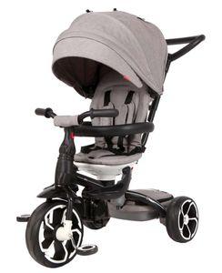 Kinder Dreirad QPlay Prime 4in1 Grau mit UV-Dach und Schubstange
