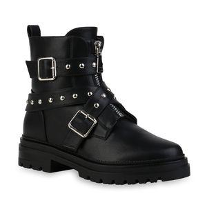Mytrendshoe Damen Biker Boots Stiefeletten Blockabsatz Nieten Schnallen Schuhe 835624, Farbe: Schwarz, Größe: 36