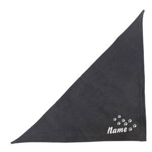 Besticktes Hundehalstuch - Schwarz 65 cm Bandana Pfotenspur + Hundename