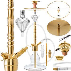 DILAW® AZUR Shisha Edelstahl Set Hookah Komplettset Wasserpfeife Molassefänger, Farbe:Gold Edelstahl, Größe:Big Size