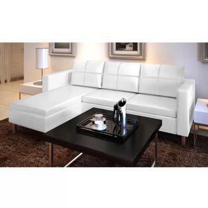 dereoir L-förmiges Sofa 3-Sitzer Kunstleder Weiß