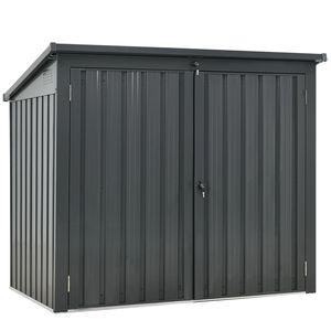 Juskys 2er Mülltonnenbox Genk 1,6 m² anthrazit - Mülltonnenverkleidung abschließbar für 2 x 240L Tonnen – Müllbox wetterfest aus Stahl mit Klappdach