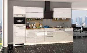 Küchenblock Neapel 330 cm weiß hochglanz ohne Elektrogeräte